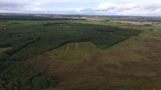 Peat bog restoration aerial view
