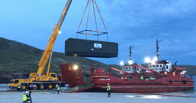 Water Treatment Works being lifted from barge at Huisinis, North Harris