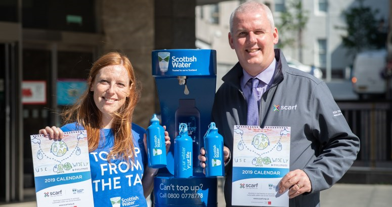 Gillian Hay from Scottish Water and Thane Lawrie of Scarf at the Aberdeen Top Up Tap