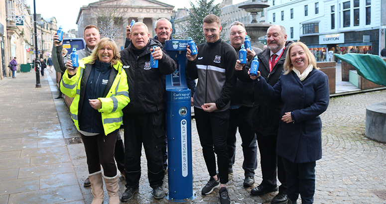 Elgin City FC help launch the new Top Up Tap in Elgin