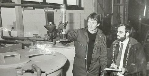 Treatment Operator John Anderson with then Area Manager Joe Moore at the opening of Lairg's previous Water Treatment Works in the early 1990s