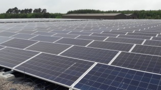 Solar panels at Inverness Water Treatment Works, by Loch Ashie