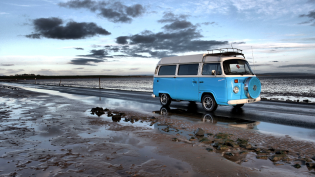 Campervan on coastal road