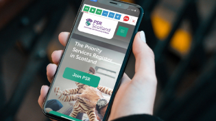 Phone with Priority Services Scotland App
