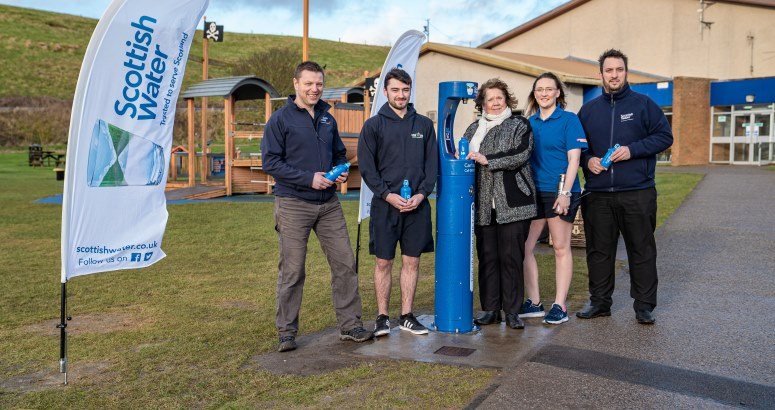 Members of Scottish Water's team were joined by staff from Live Life Aberdeenshire's Stonehaven Leisure Centre and local councillor Wendy Agnew to launch Stonehaven's new Top up Tap (L to R: Tom Heinowski (Scottish Water), Cameron Smith (Live Life Aberdeenshire), Councillor Wendy Agnew, Kelsea Murray (Live Life Aberdeenshire) and Clive Duncan (Scottish Water)