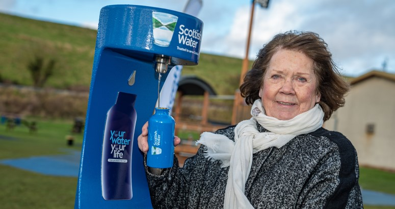 Councillor Wendy Agnew launching Stonehaven's new Top up Tap, outside Stonehaven Leisure Centre