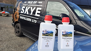 The bottles donated by Scottish Water to aid the production of hand sanitiser on Skye