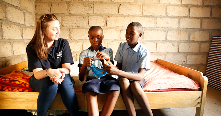 Louise Bannerman talks to Rwandan schoolgirls about menstrual hygiene