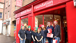 Scottish Water staff volunteer at BHF Scotland's shop on Nicolson Street Edinburgh