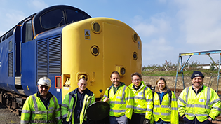 Scottish Water volunteers at Bo'ness and Kinneil Railway