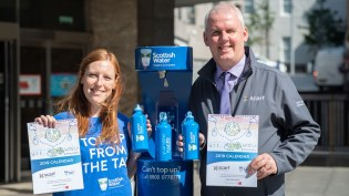Gillian Hay of Scottish Water and Thane Lawrie of Scarf at the Aberdeen Top Up Tap
