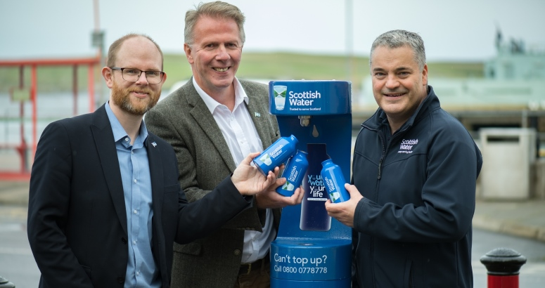 From left: Leader of Shetland Islands Council Steven Coutts, Chair of Living Lerwick Steve Mathieson and Scottish Water Customer Services Team Leader Jim Anderson pictured at the new Top Up Tap