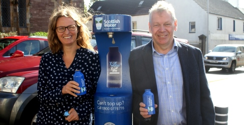An Lanntair Chief Executive Elly Fletcher and local Councillor Iain MacAulay of Comhairle nan Eilean Siar pictured at the new Top Up Tap
