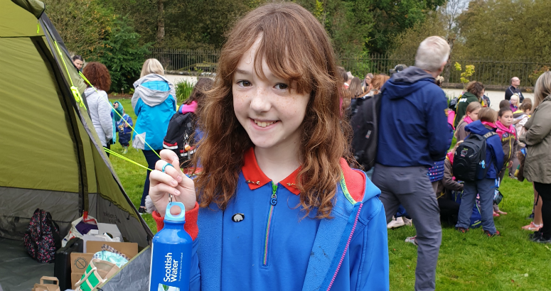 Girls with bottles at Girlguiding event