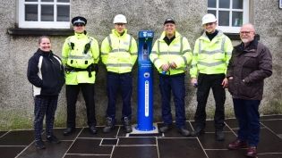 Dorothy O'Donnell of Kirkwall BID, Police Constable Simon Hay, Scottish Water apprentice Ross Whitehill, Scottish Water network maintenance operator Jon Smales, Scottish Water apprentice Sweyn Cowie and Councillor Andrew Drever of Orkney Islands Council
