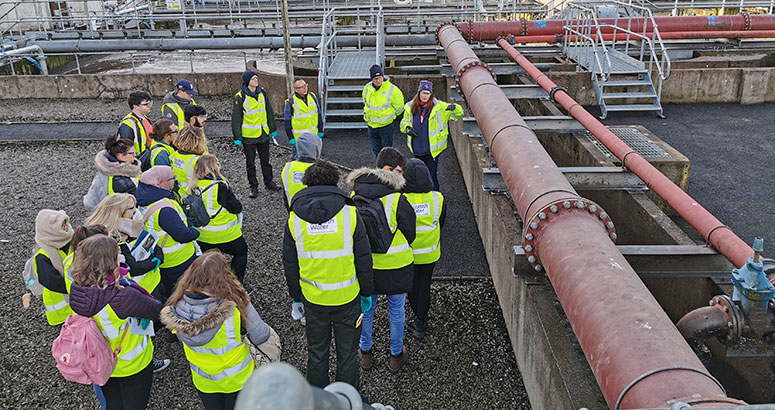 University of Glasgow students get a tour of Troqueer Waste Water Treatment Works