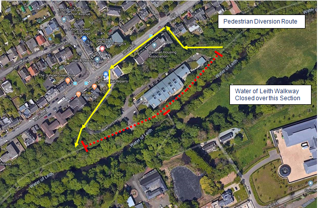Water of Leith Walkway diversion route