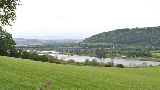 The River Tay and the Friarton Bridge, with the City of Perth upstream